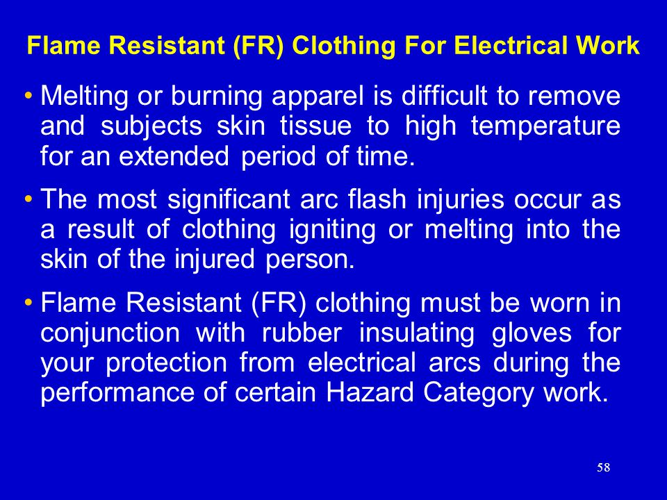 Flame Resistant (FR) Clothing For Electrical Work