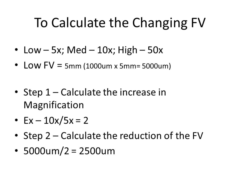 To Calculate the Changing FV
