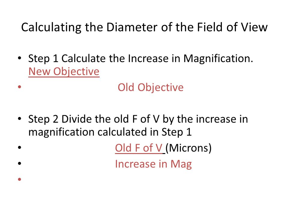 Calculating the Diameter of the Field of View