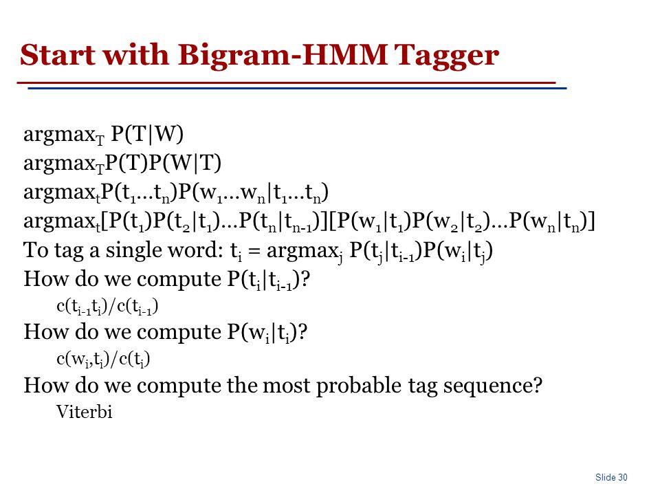 Markov Model Taggers Bigram tagger Trigram tagger