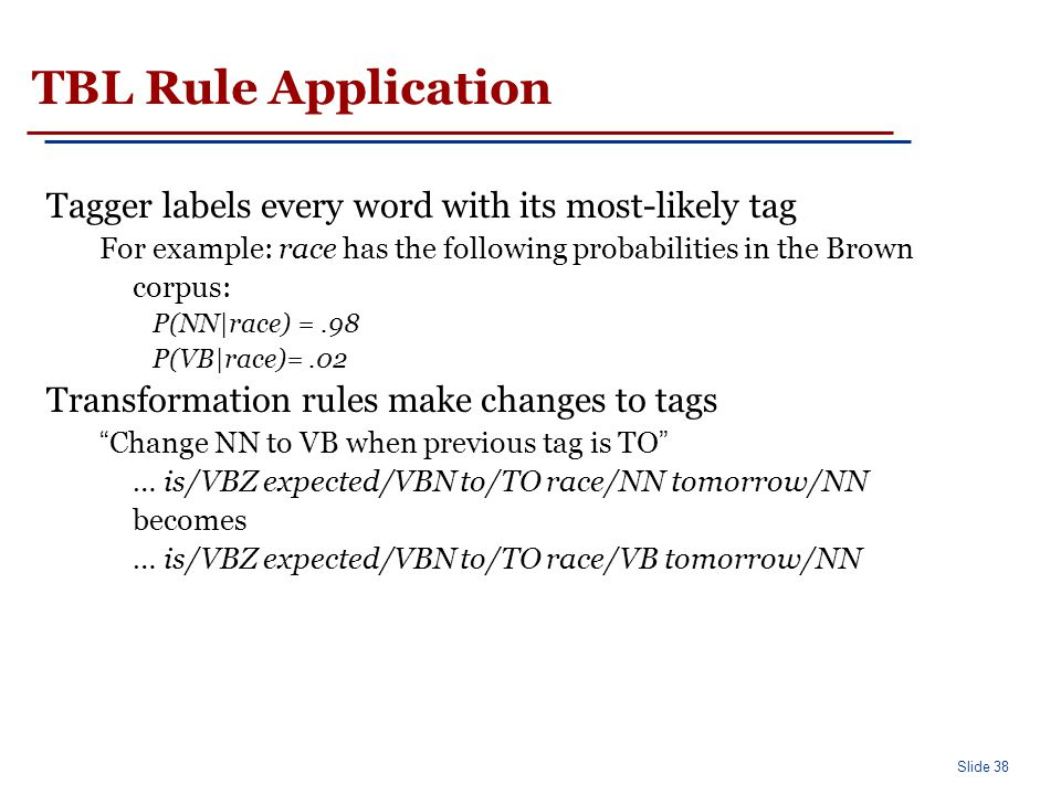 TBL: Rule Learning 2 parts to a rule