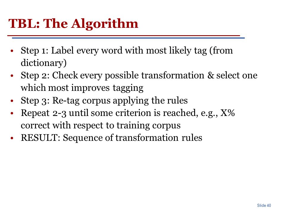 TBL: Rule Learning (cont'd)