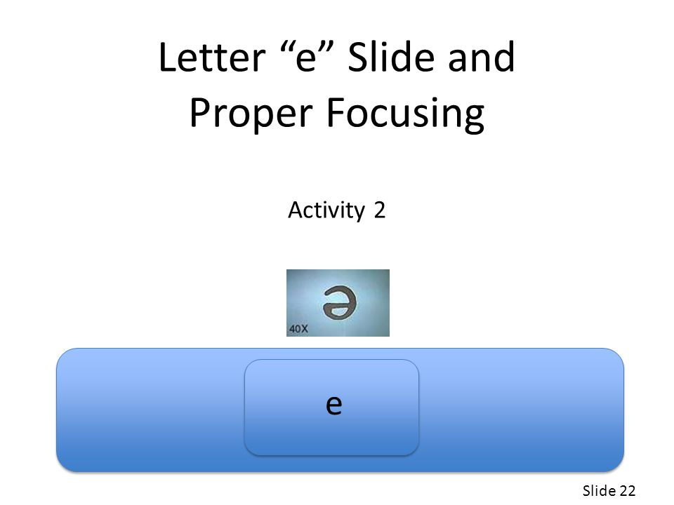 Letter e Slide and Proper Focusing Activity 2