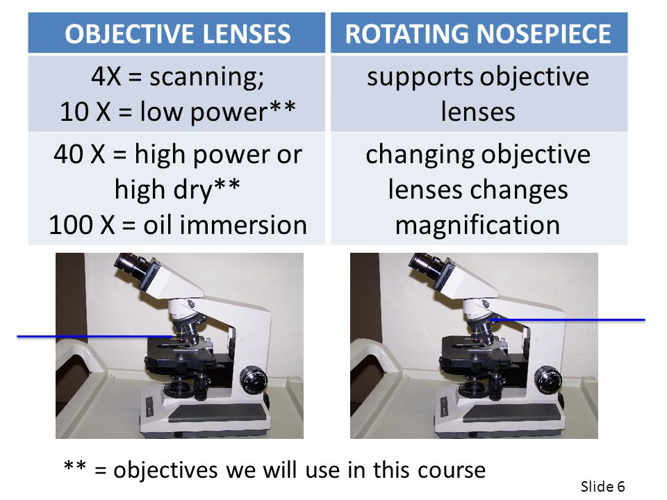 OBJECTIVE LENSES ROTATING NOSEPIECE