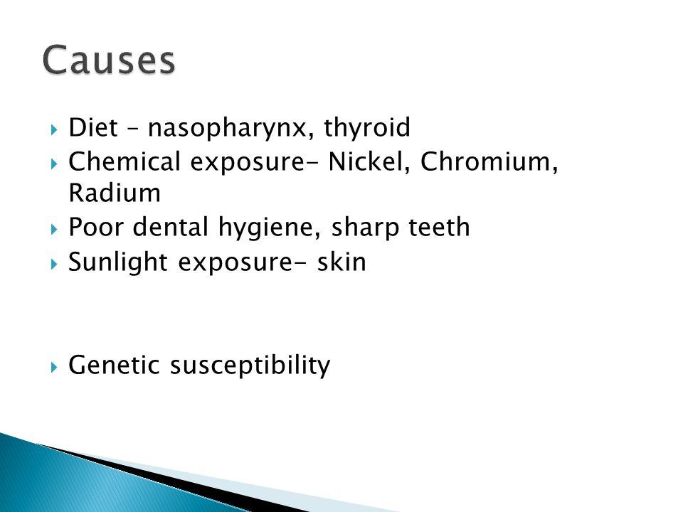 Causes Diet – nasopharynx, thyroid