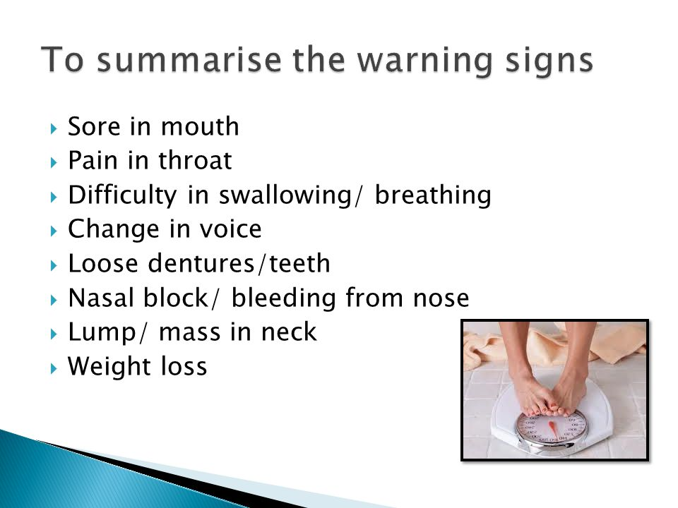 To summarise the warning signs