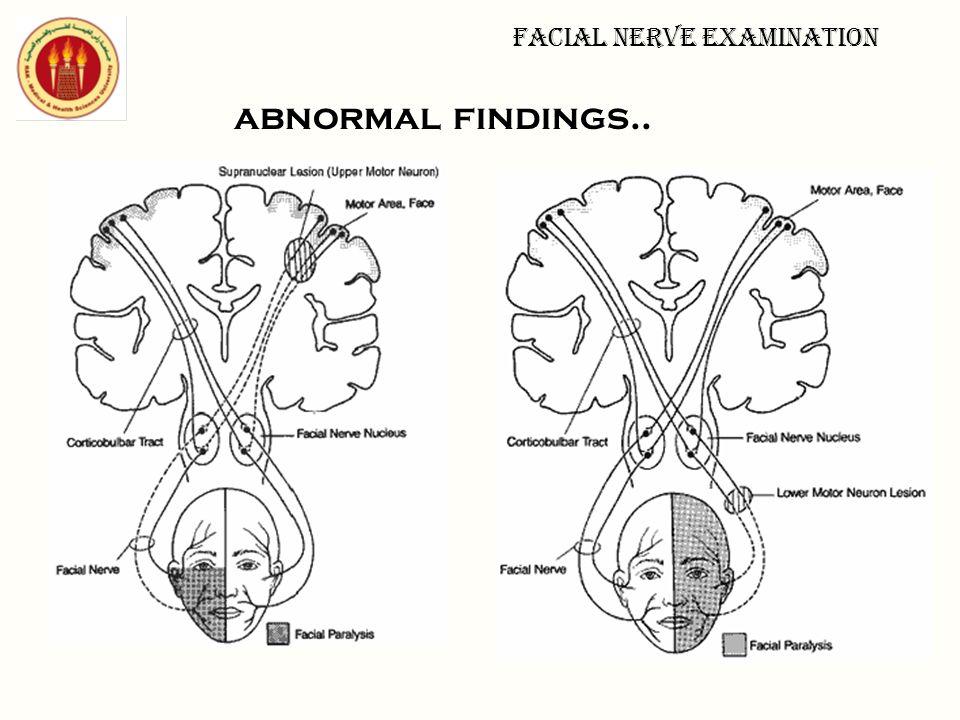 Facial nerve examination
