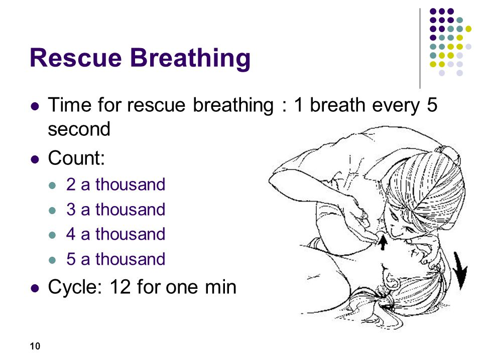 Rescue Breathing Time for rescue breathing : 1 breath every 5 second