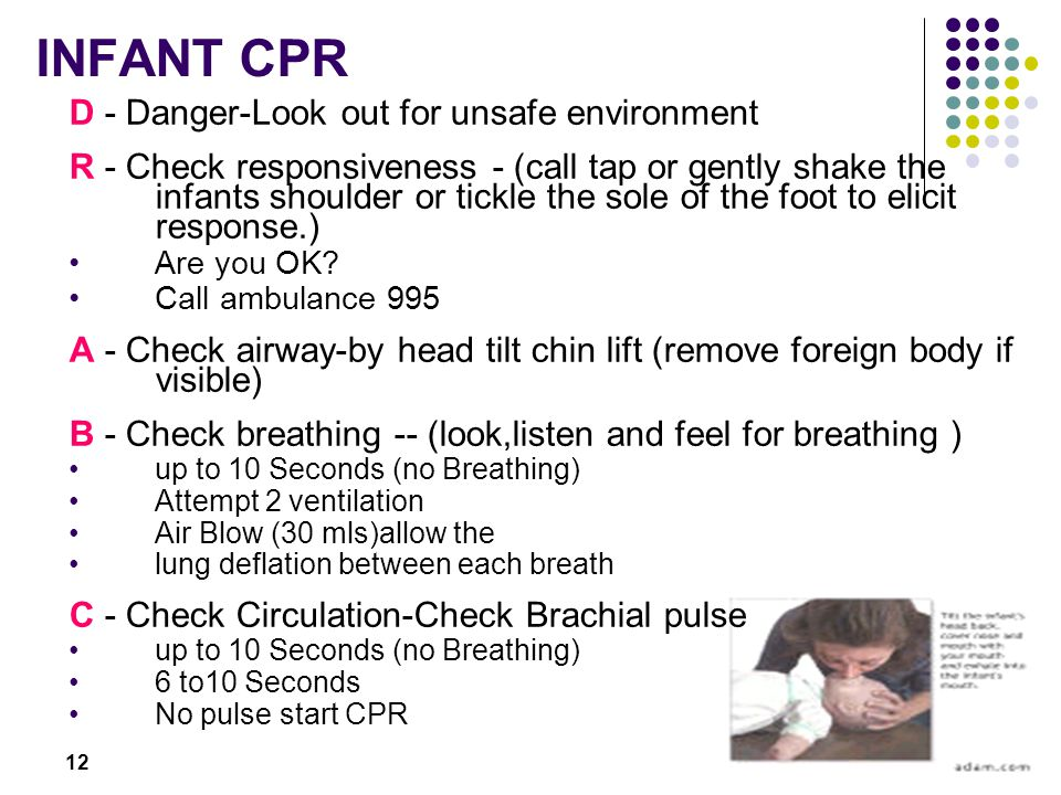 INFANT CPR D - Danger-Look out for unsafe environment