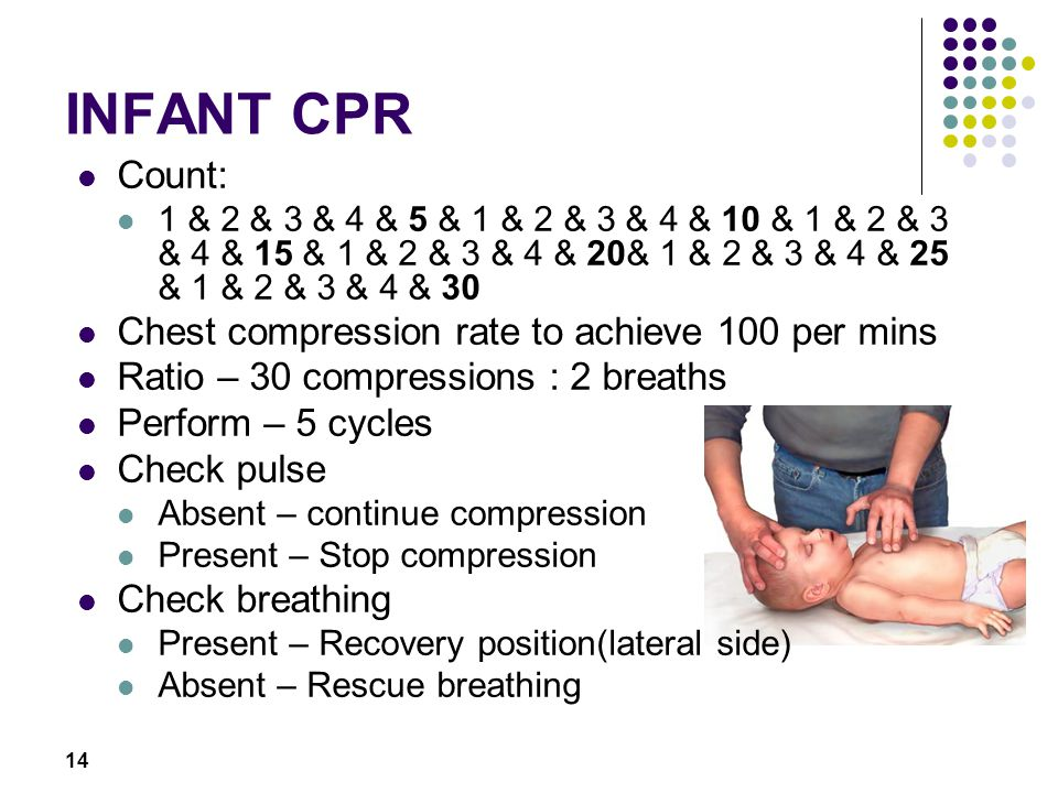 INFANT CPR Count: Chest compression rate to achieve 100 per mins