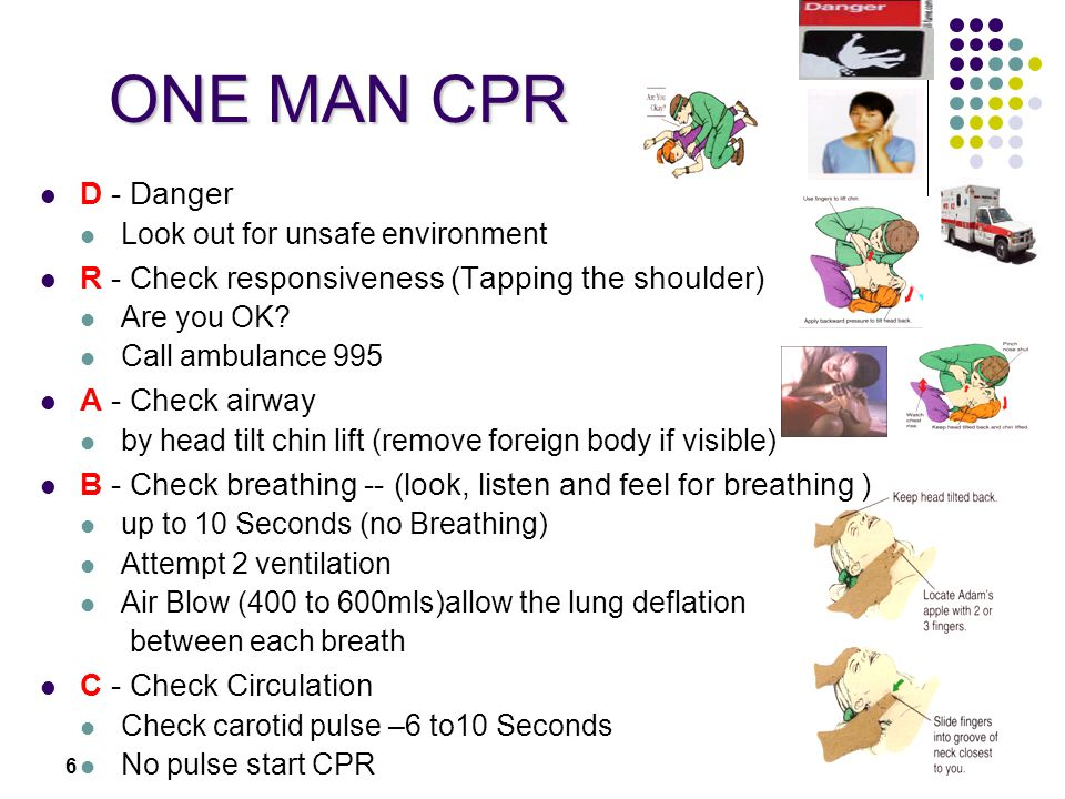 ONE MAN CPR D - Danger R - Check responsiveness (Tapping the shoulder)
