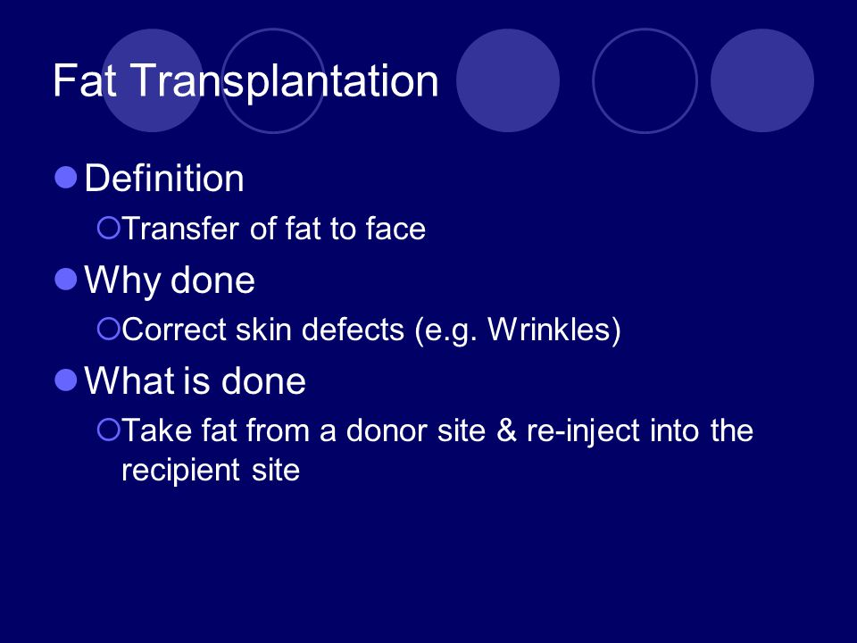 Fat Transplantation Definition Why done What is done