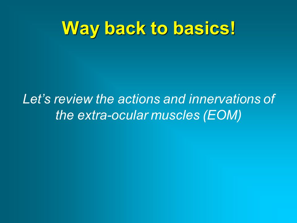 Way back to basics! Let's review the actions and innervations of the extra-ocular muscles (EOM)