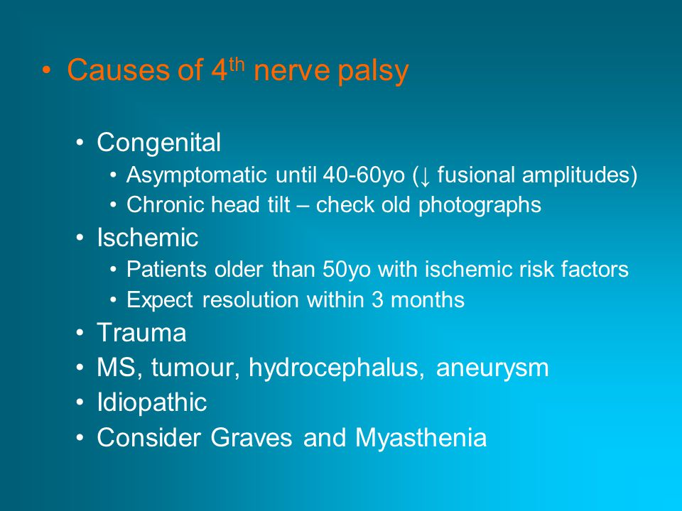 Causes of 4th nerve palsy