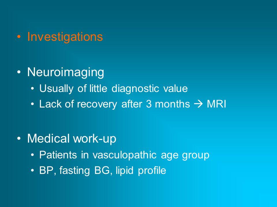 Investigations Neuroimaging Medical work-up