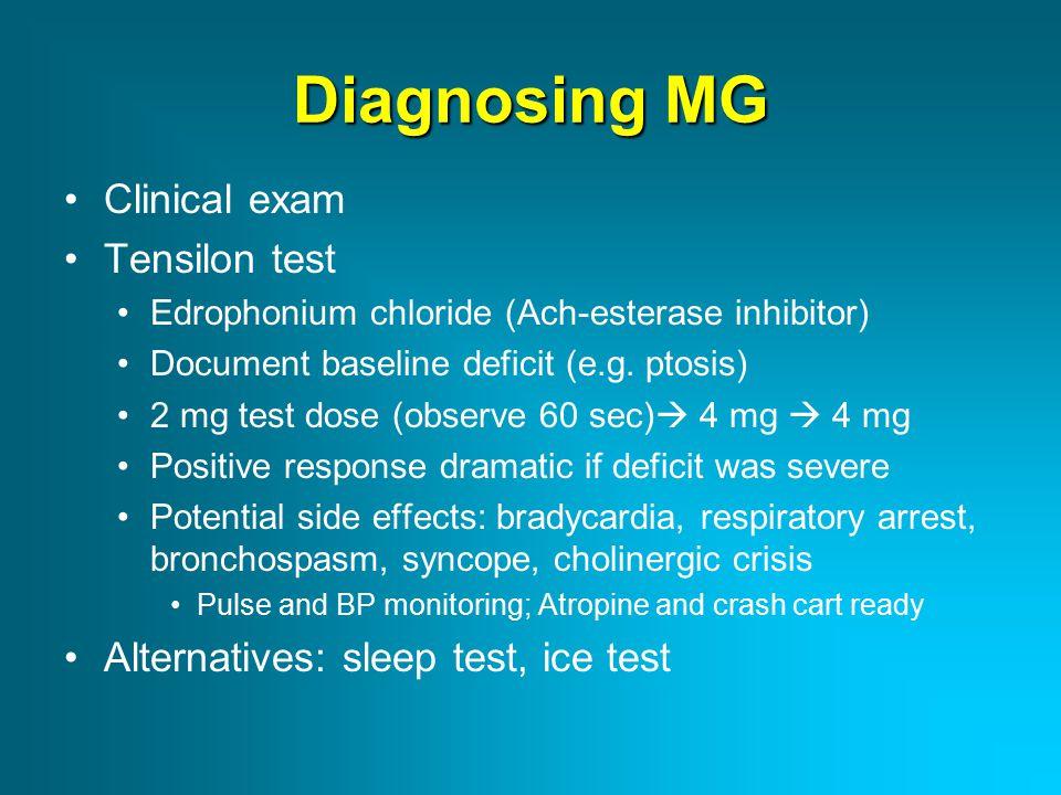 Diagnosing MG Clinical exam Tensilon test