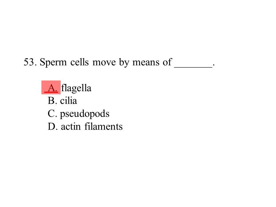 53. Sperm cells move by means of _______. A. flagella B. cilia C