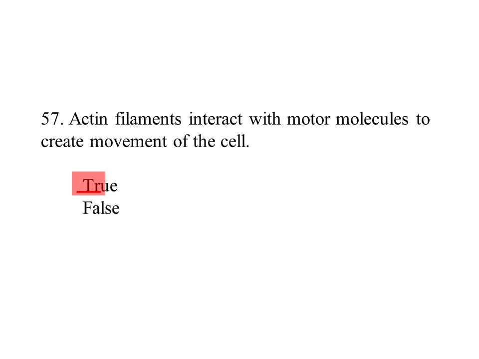 57. Actin filaments interact with motor molecules to create movement of the cell. True False