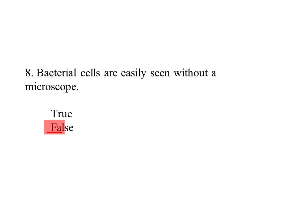 8. Bacterial cells are easily seen without a microscope. True False