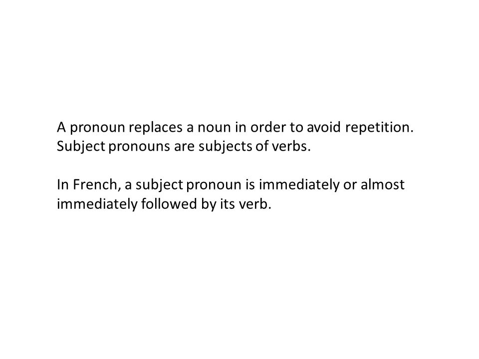 A pronoun replaces a noun in order to avoid repetition