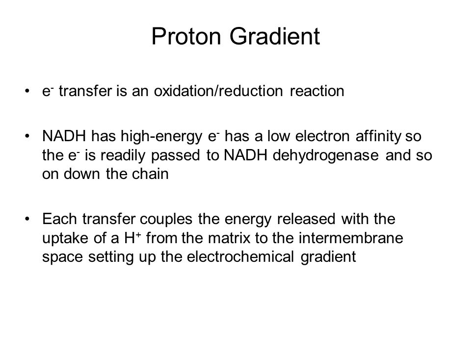 Proton Gradient e- transfer is an oxidation/reduction reaction
