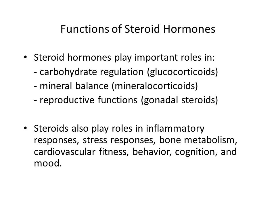 Functions of Steroid Hormones