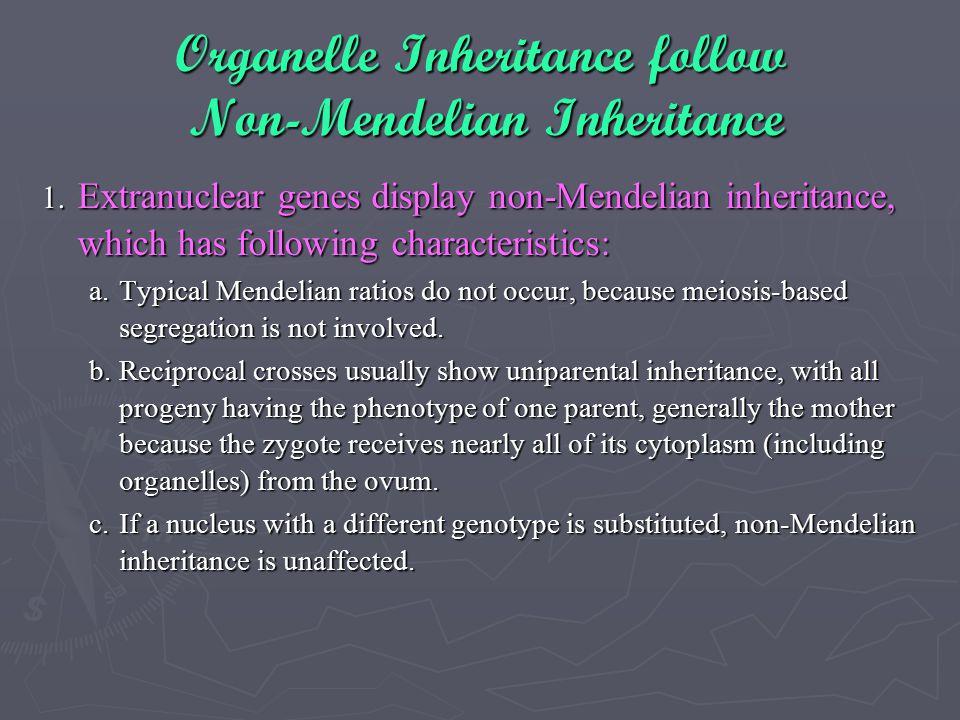 Organelle Inheritance follow Non-Mendelian Inheritance