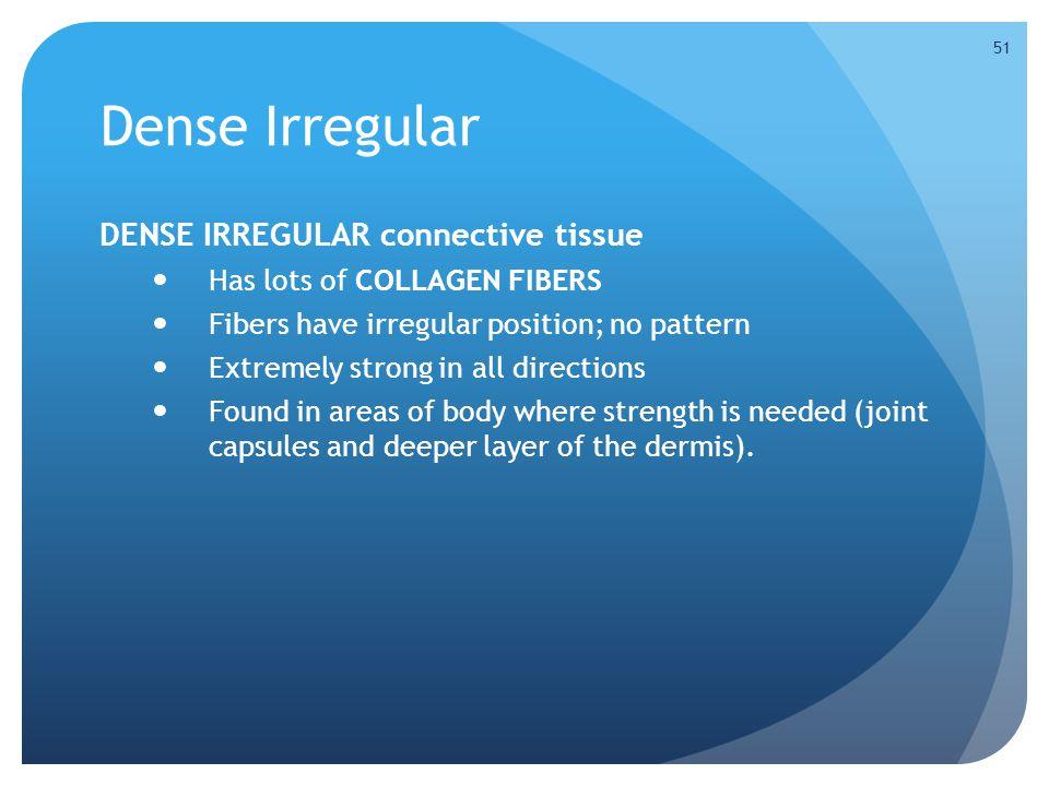 Dense Irregular DENSE IRREGULAR connective tissue