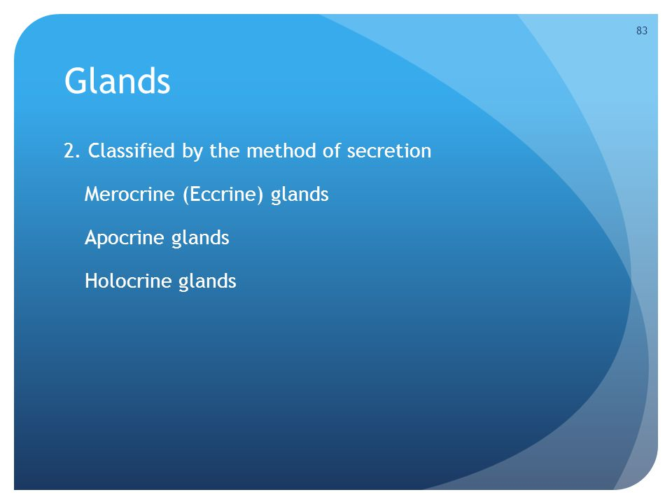 Glands 2. Classified by the method of secretion