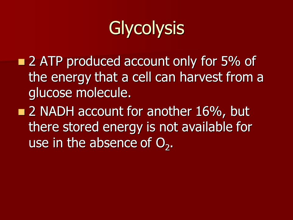 Glycolysis 2 ATP produced account only for 5% of the energy that a cell can harvest from a glucose molecule.