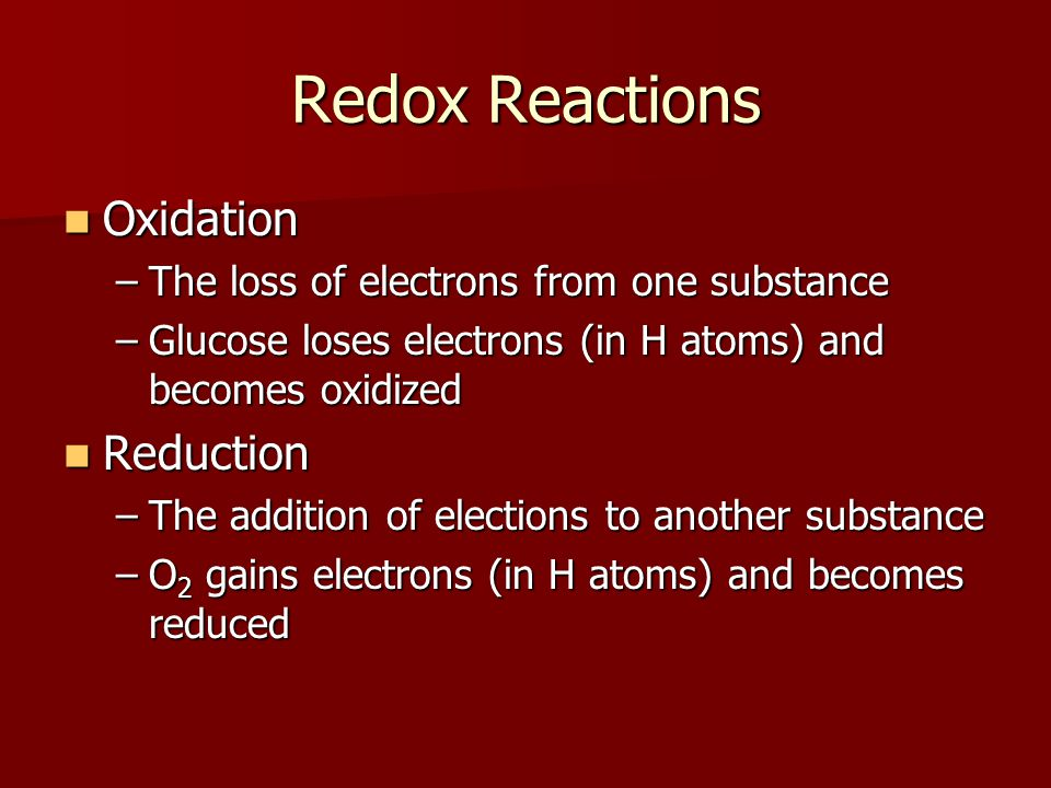 Redox Reactions Oxidation Reduction