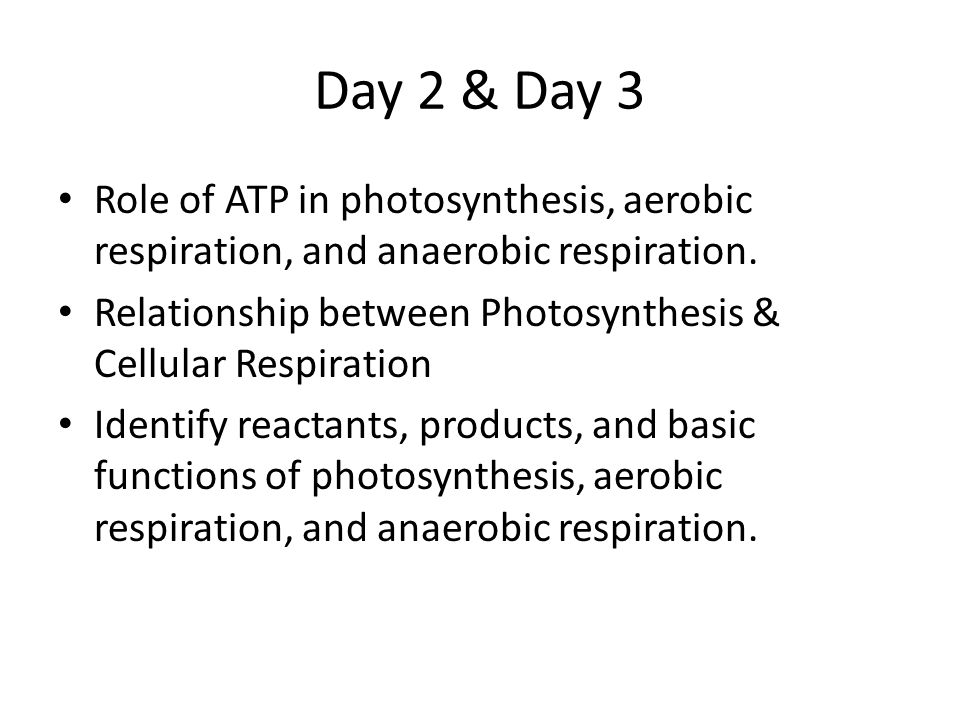 Day 2 & Day 3 Role of ATP in photosynthesis, aerobic respiration, and anaerobic respiration.