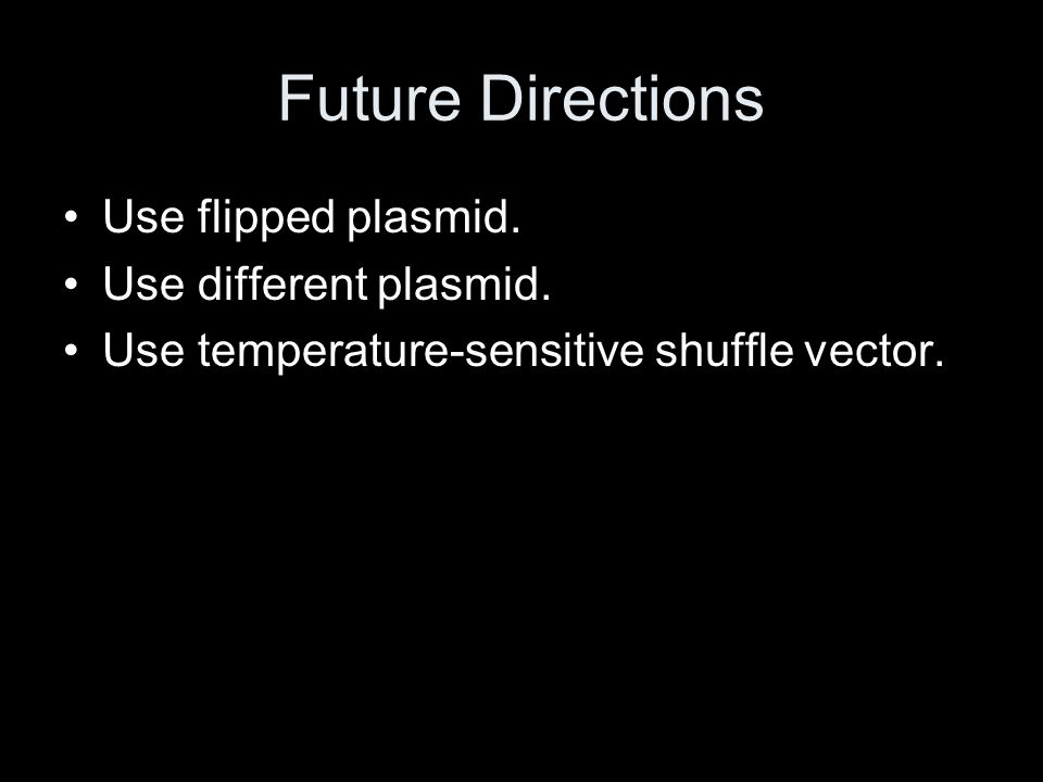 Future Directions Use flipped plasmid. Use different plasmid.
