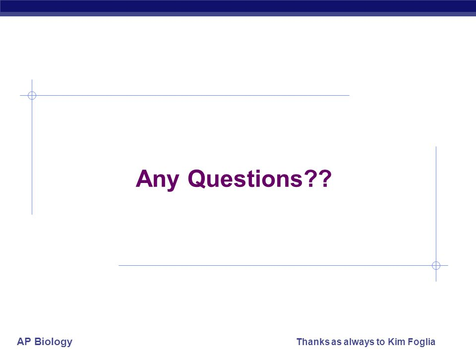 Any Questions Thanks as always to Kim Foglia