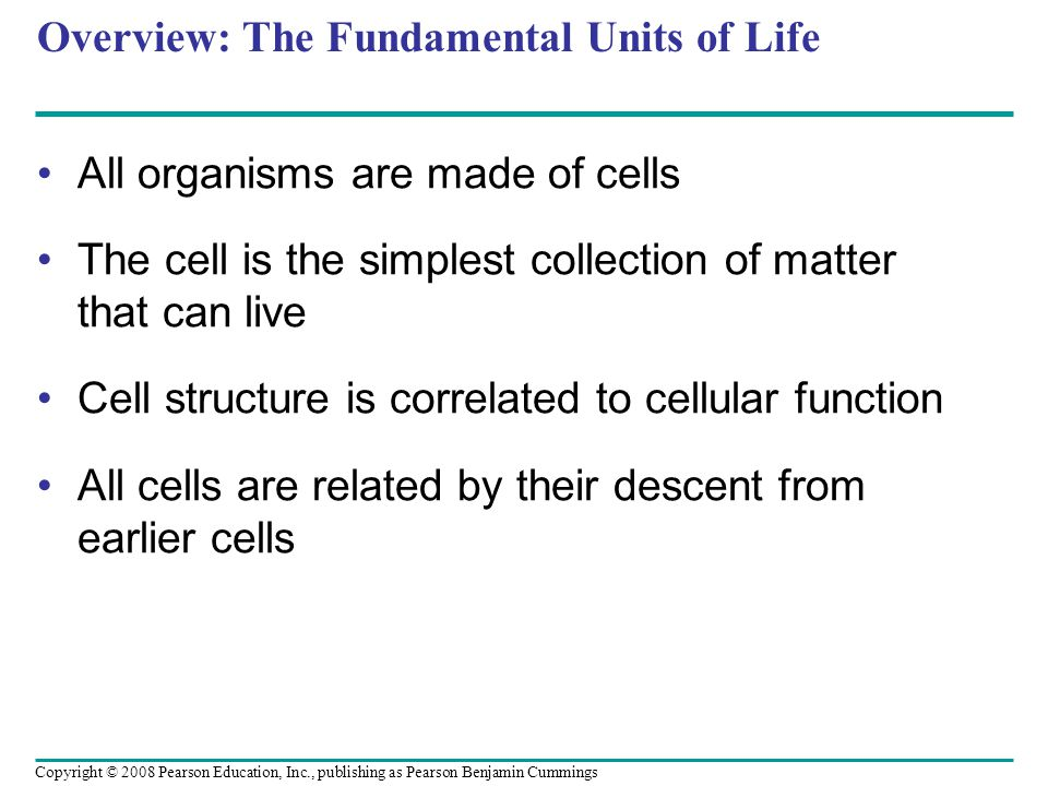 Overview: The Fundamental Units of Life