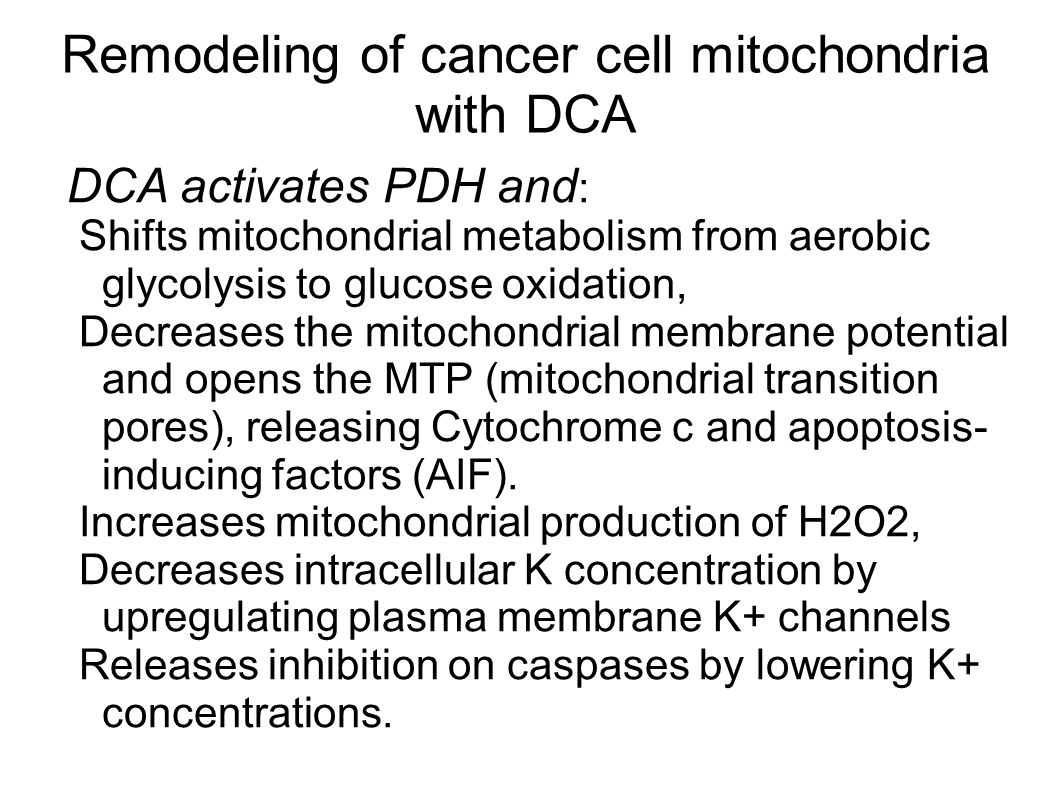 Remodeling of cancer cell mitochondria with DCA