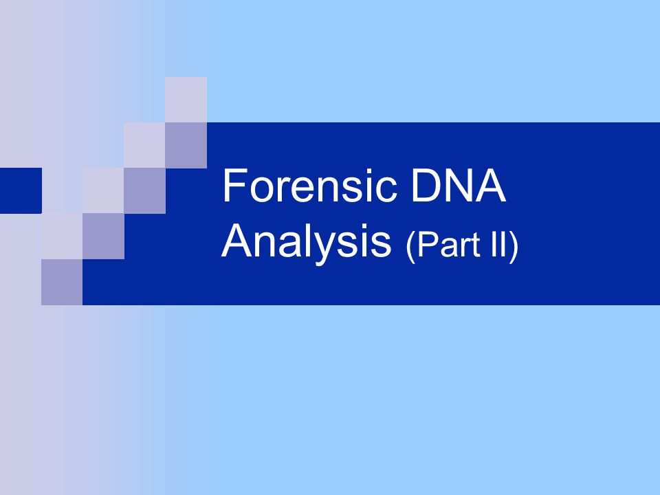 Forensic DNA Analysis (Part II)