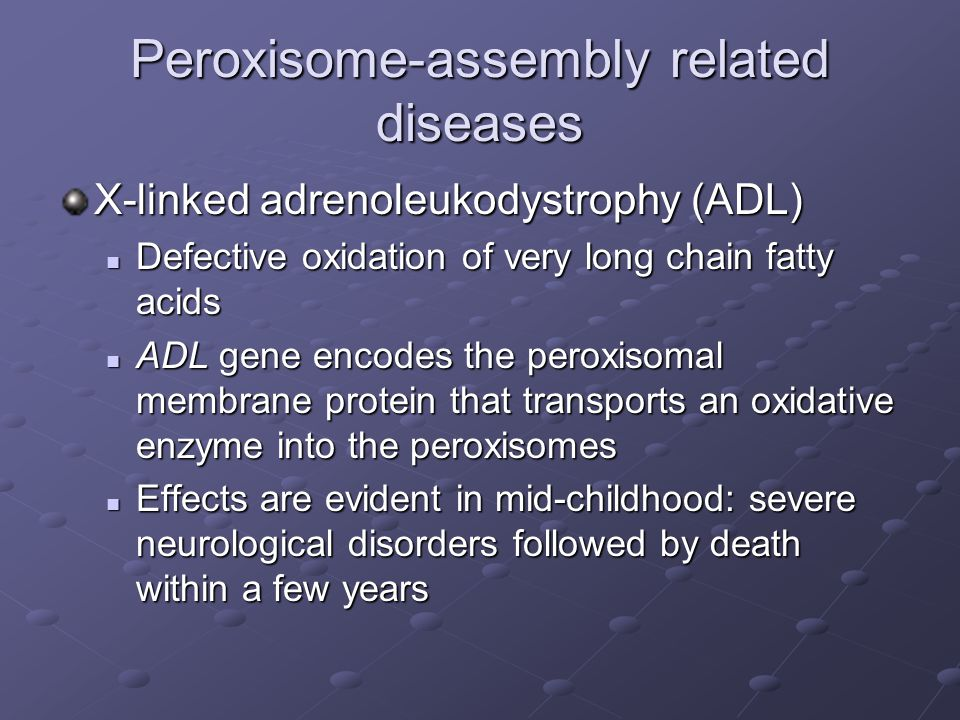 Peroxisome-assembly related diseases