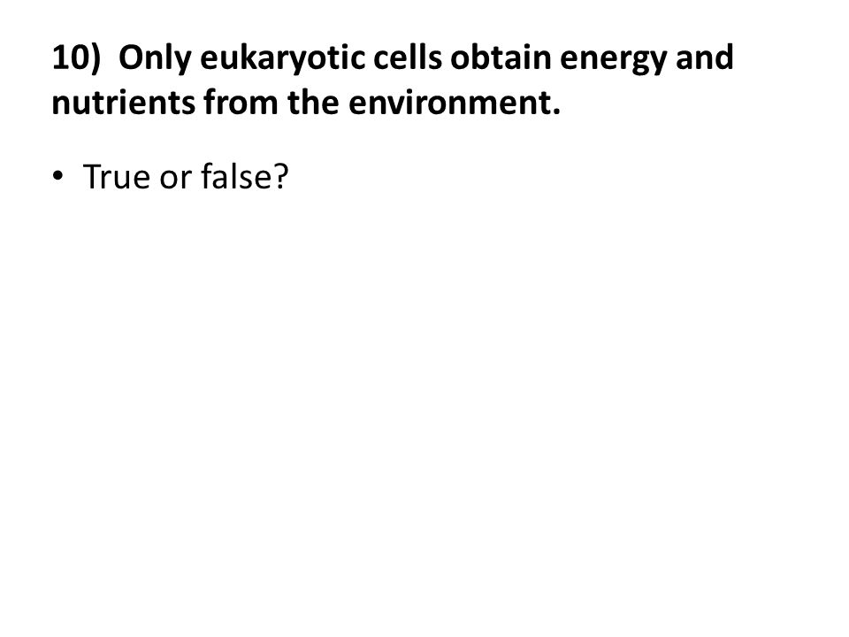 10) Only eukaryotic cells obtain energy and nutrients from the environment.