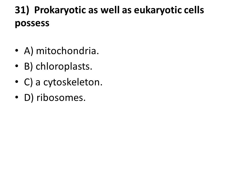 31) Prokaryotic as well as eukaryotic cells possess