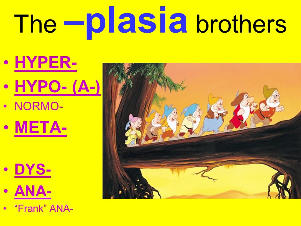 The –plasia brothers HYPER- HYPO- (A-) META- DYS- ANA- NORMO-