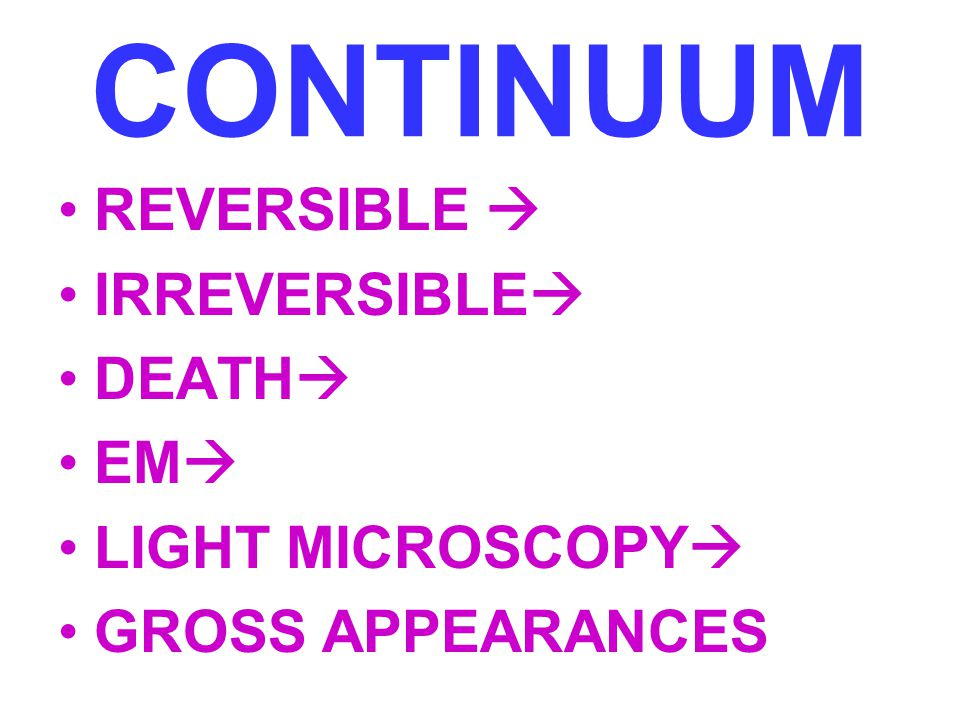 CONTINUUM REVERSIBLE  IRREVERSIBLE DEATH EM LIGHT MICROSCOPY