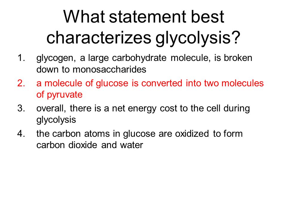 What statement best characterizes glycolysis