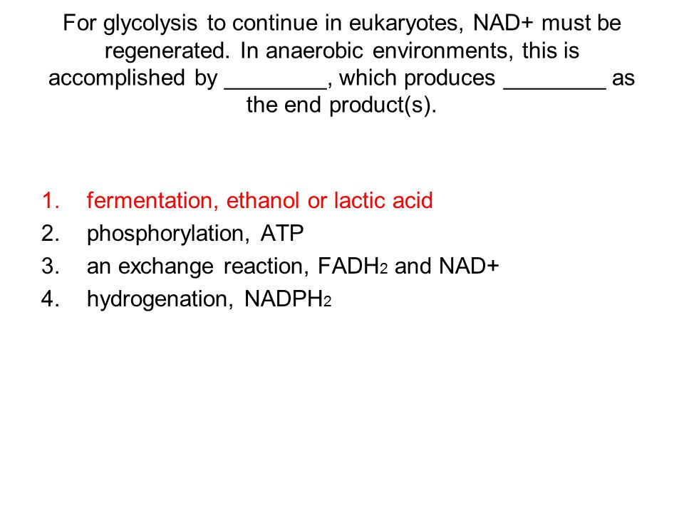 For glycolysis to continue in eukaryotes, NAD+ must be regenerated