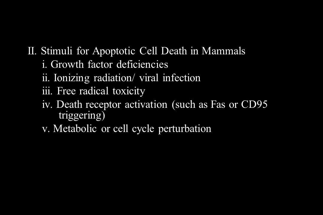 II. Stimuli for Apoptotic Cell Death in Mammals