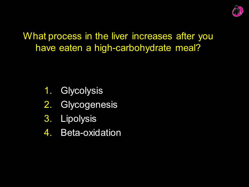 What process in the liver increases after you have eaten a high-carbohydrate meal