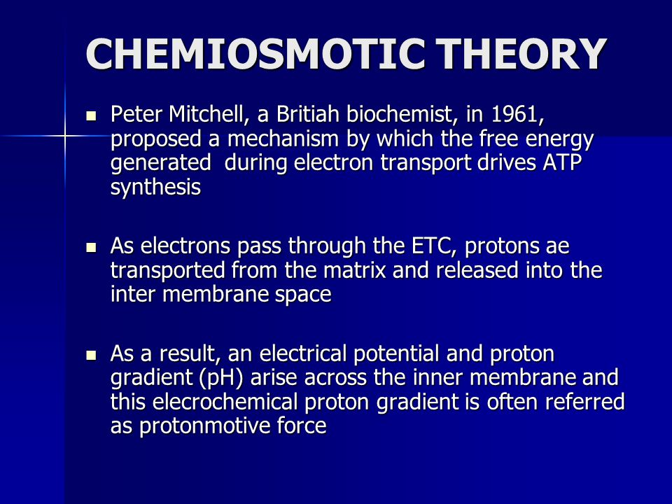 CHEMIOSMOTIC THEORY