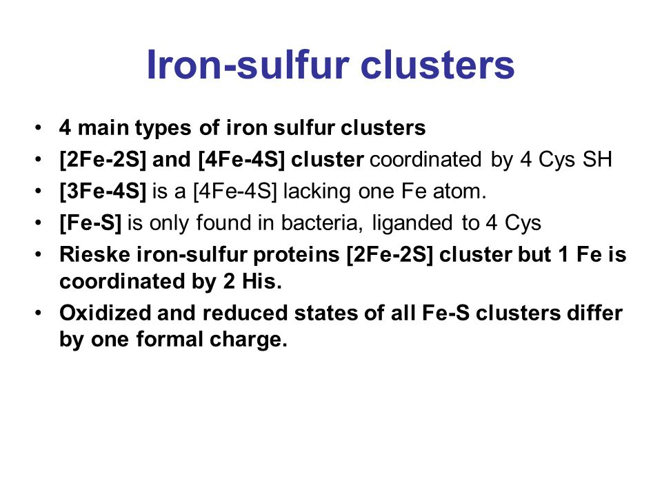 Iron-sulfur clusters 4 main types of iron sulfur clusters