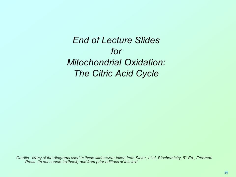 Mitochondrial Oxidation: