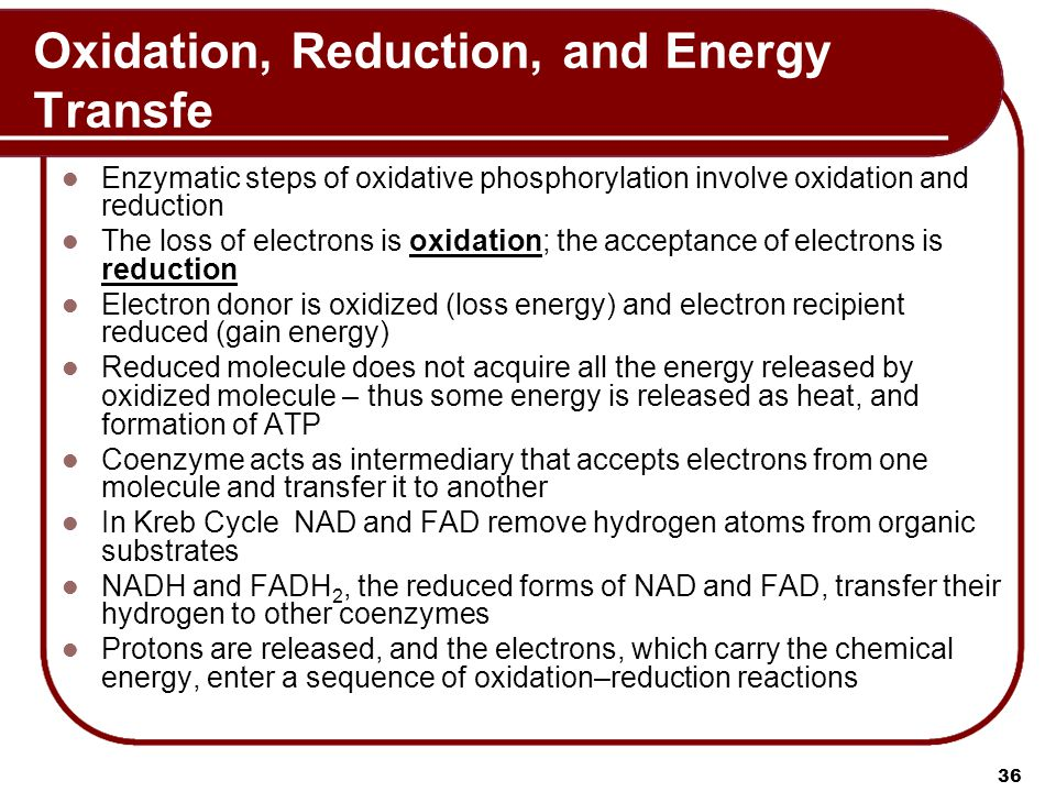 Oxidation, Reduction, and Energy Transfe